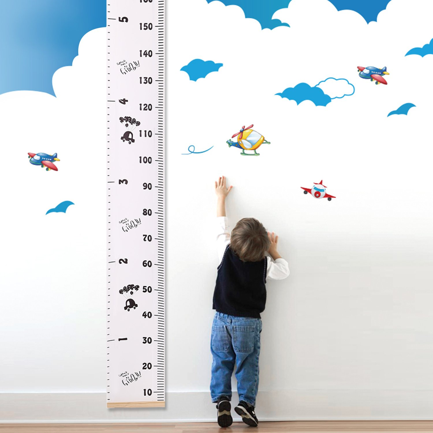 UTOVME Baby Kids Height Growth Chart Hanging Rulers, Wood Frame Canvas Cartoon Cars Printing Growth Ruler Room Wall Decor, 76.4 x 7.9 76.4 x 7.9 D101FT159-CR02