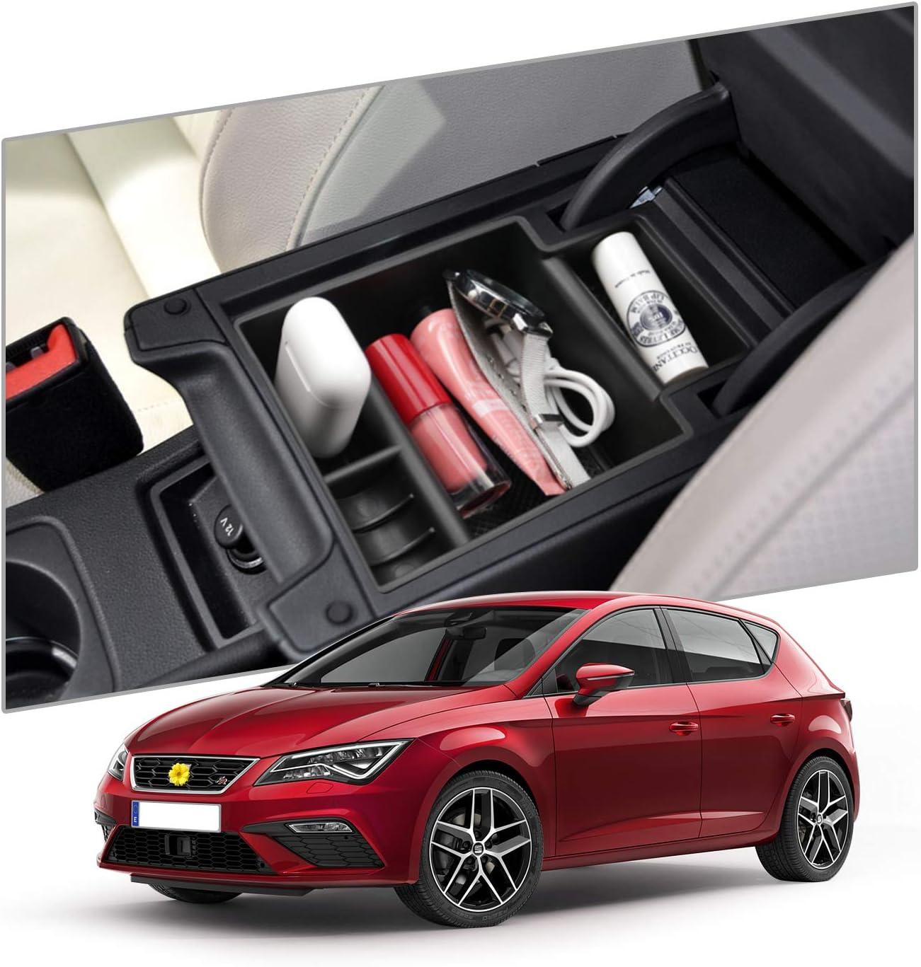 CDEFG Handschuhfach Armlehne Multifunktionaler Aufbewahrun f/ür Seat Leon 2013-2019 Auto Center Console Organizer Tray