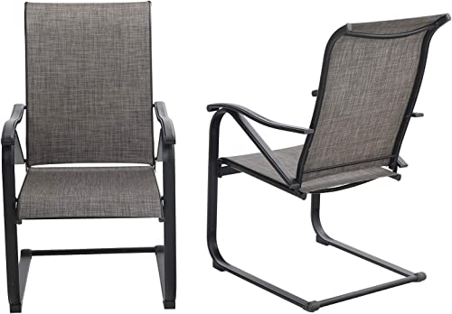 Sophia William Patio Dining Chairs 2 Pieces C Spring Motion Textilene Metal Chairs High Back Weather Resistant Outdoor Furniture