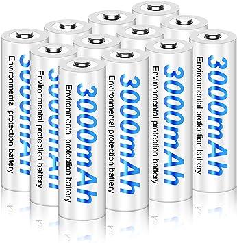 Palo 12 Pack 3000mAh 1.2V AA Ni-MH Baterías Recargables para Luces solares con Estuche