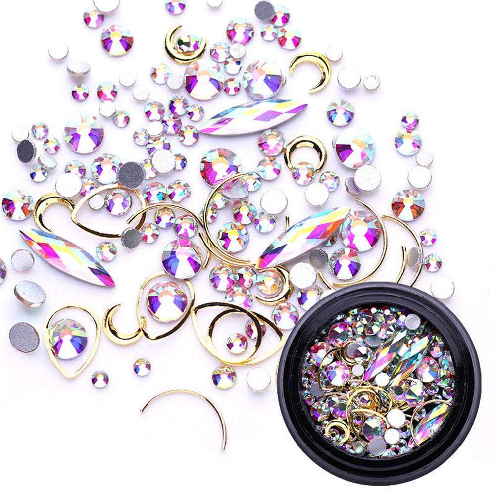 Aolvo Decoración de Uñas, Decoraciones Joyas de Cristal, Joyería para Uñas Decoración, Piedras Preciosas Brillantes Cristal para Nail Gel