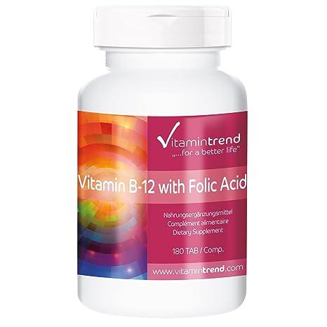 Vitamina B12 con ácido fólico – vegano – tratamiento para 6 meses – gran dosificación –