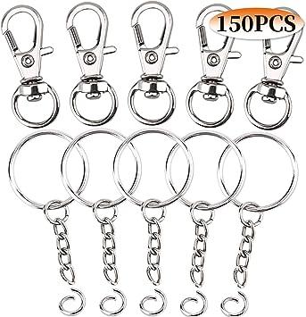 Paxcoo 100 Pcs Key Chain Hooks with Key Rings Large Size