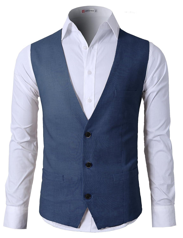 H2H Mens Casual Slim Fit Business Suit Vest Linen Solid 3 Buttons Stylish Dress Vest #CMOV039