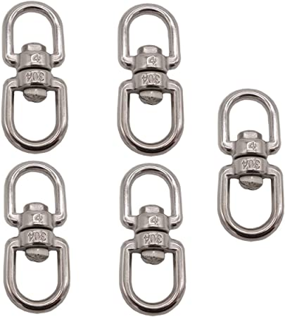Pack of 6 Smooth Hanging Basket Spinners Swivel Hook for Hanging Plants Chimes Bird Feeder