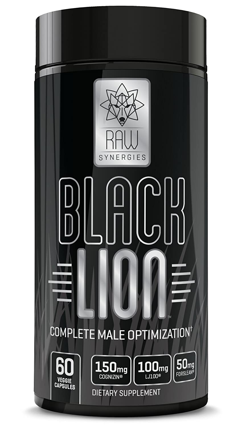RAW Synergies Black Lion – Thermogenic Testosterone Booster and Fat Burner for Men, Natural Brain Supplement and Estrogen Blocker with DIM and Pure Forskolin for Weight Loss and Muscle Building, 60 sv