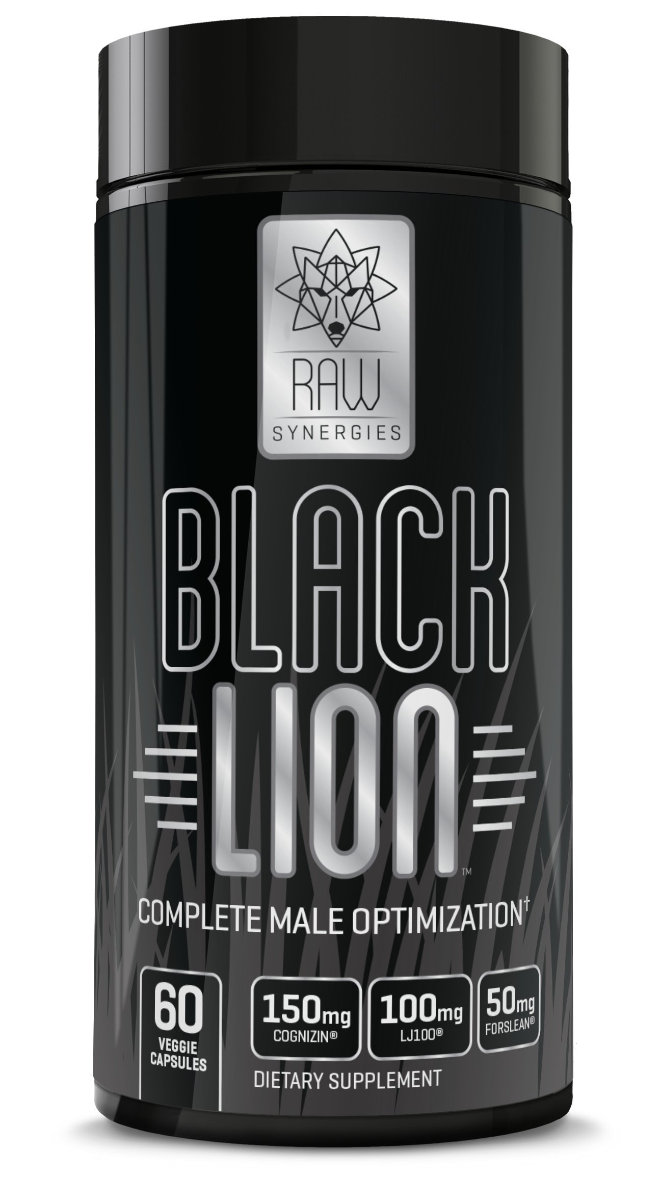 RAW Synergies Black Lion – Thermogenic Test Booster and Fat Burner for Men, Natural Brain Supplement and Estrogen Blocker with DIM and Pure Forskolin for Weight Loss and Muscle Building, 60 sv