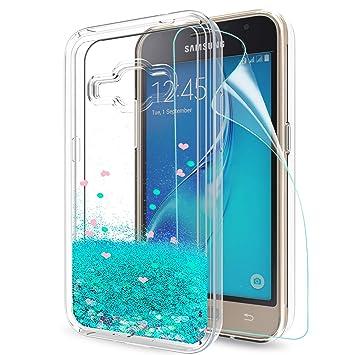 LeYi Funda Samsung Galaxy J1 2016 Silicona Purpurina Carcasa con HD Protectores de Pantalla,Transparente Cristal Bumper Telefono Gel TPU Fundas Case ...