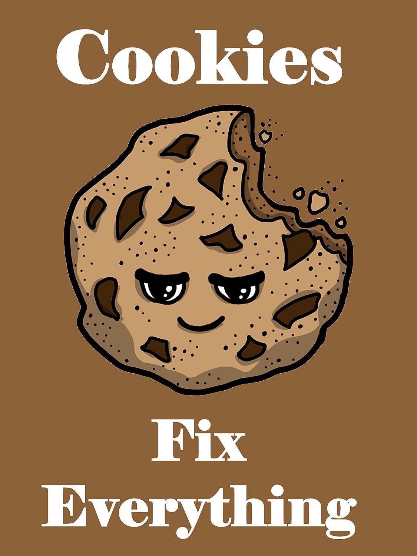 Hat Shark Cookies Fix Everything Food Humor Cartoon 18x24 - Vinyl Print Poster
