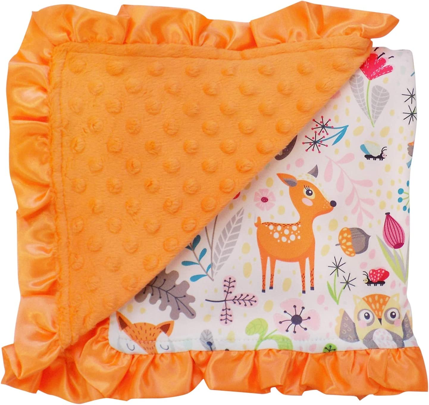 So Sydney Reversible Soft Textured Minky Dot Baby Infant Toddler Blanket with Satin Trim Fabulous Flamingo