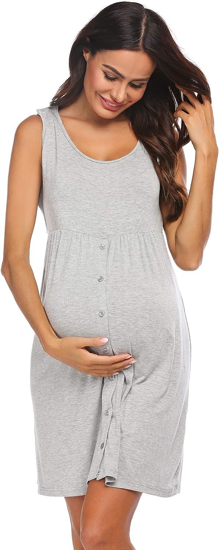 Ekouaer Nursing Dress,Maternity Nightgown Women/'s Delivery//Labor Breastfeeding Sleep Dress