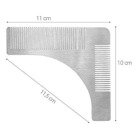 kwmobile Plantilla para cortar barba de acero inoxidable - Peine guía para recortar barba - Molde para igualar asear y dar forma a la barba: Amazon.es: ...