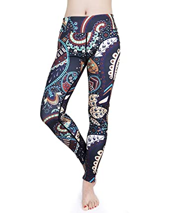 58e9be7ca97 Hanmor High Waisted Yoga Pants for Women Paisley Workout Leggings for  Sports