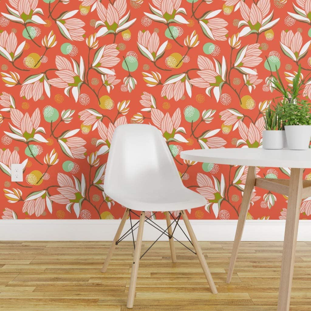 Spoonflower Peel And Stick Removable Wallpaper Magnolia Flowers