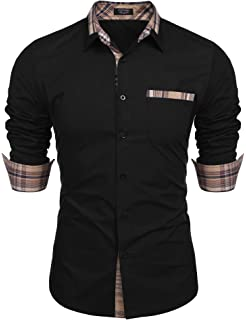 X-Future Mens Floral Turn Down Collar Regular Fit Club Long Sleeve Button Down Shirts