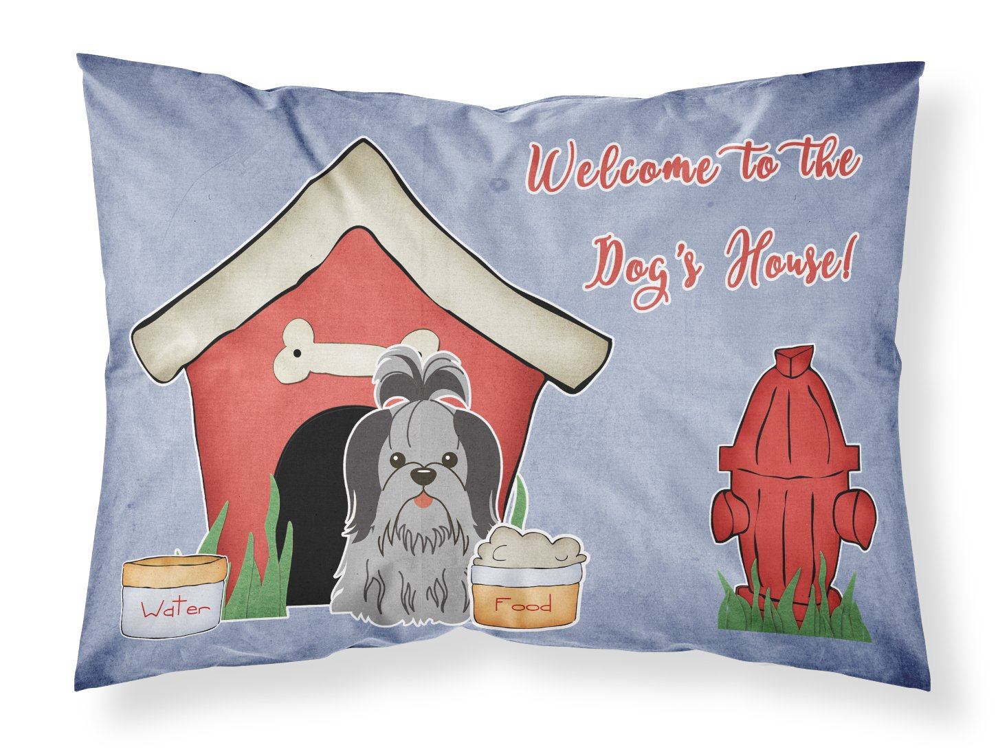 Multicolor Standard Carolines Treasures BB2843PILLOWCASE Dog House Collection Shih Tzu Black Silver Fabric Pillowcase