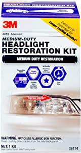 3M 1 Pack Medium Duty Headlight Restoration Kit with Quick Clear Coat, 39174