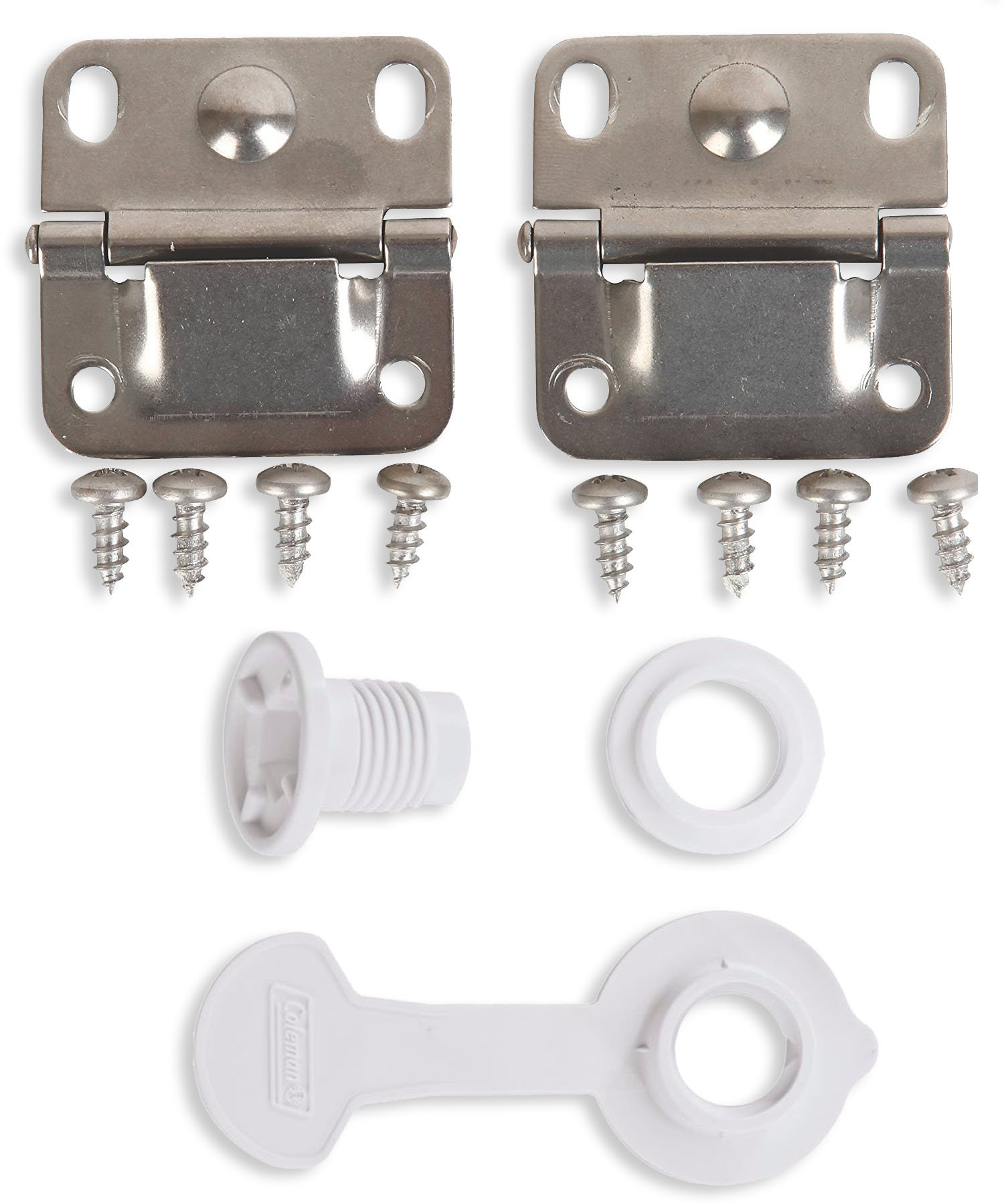 Coleman Ice Chest Cooler Replacement Stainless Steel Hinges and Screws Set & Standard Drain Plug Assembly - 1'' Shaft Length Combo/Bundle (in Package by Main Event USA) by Coleman