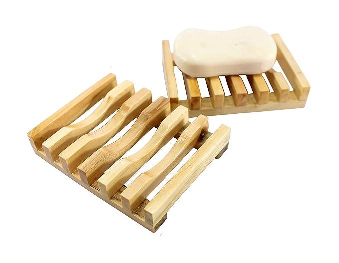 KLEO - Jabonera de madera natural con soporte para jabón en juego ...
