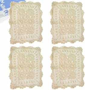 kilofly Handmade Crochet Cotton Lace Table Placemats Doilies Value Pack [Set of 4], Beige