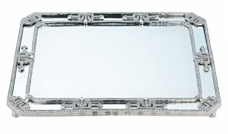 Howard Elliott Sonic Round Hanging Accent Wall Mirror, Silver Leaf Frame, 20 Inch