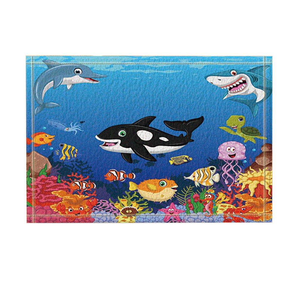 KOTOM Kids Love Sea Animals Decor, Cartoon Whale with Sea Life Swimming in Coral Bath Rugs, Non-Slip Doormat Floor Entryways Indoor Front Door Mat, Kids Bath Mat, 15.7x23.6in, Bathroom Accessories