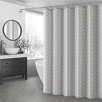 Duschdraperi Grå tyg Tjock polyester badkar Gardin vattentät med 12st hängande krokar(200 * 200cm)