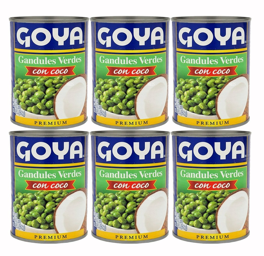 Goya Canned Green Pigeon Peas with Coconut, 15.5 Ounces (6 Pack) Gandules con Coco