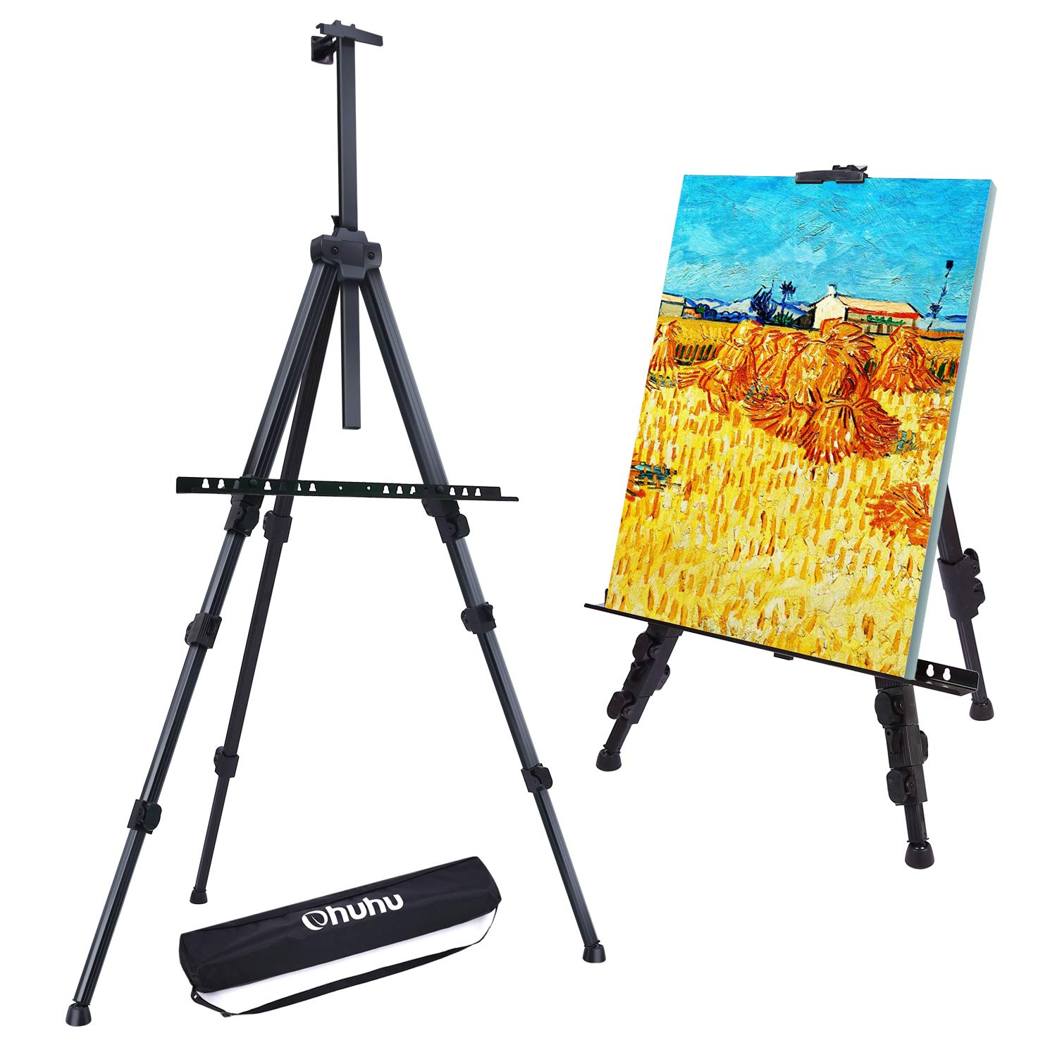 "Easel Stand, Ohuhu 72"" Artist Easels for Display, Aluminum Metal Tripod Field Easel with Bag for Table-Top/Floor/Flip Charts, Black Art Easels W/Adjustable Height 25-72"" for Christmas Gifts"