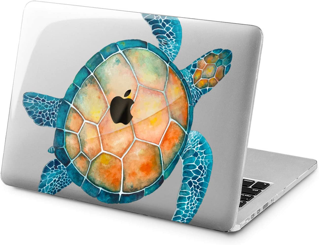 "Cavka Hard Shell Case for Apple MacBook Pro 13"" 2019 15"" 2018 Air 13"" 2020 Retina 2015 Mac 11"" Mac 12"" Blue Animal Design Turtle Cover Print Fish Watercolor Protective Cute Sea Laptop Ocean Plastic"