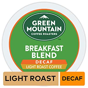 Green Mountain Coffee Roasters Breakfast Blend Decaf, Single Serve Coffee K-Cup Pod, Light Roast, 32
