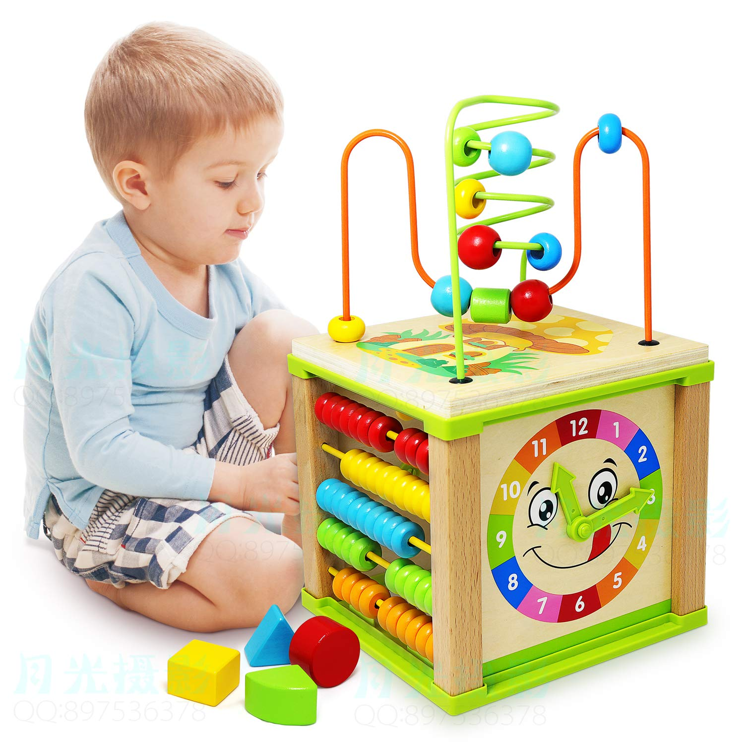 Ulmisfee Activity Cube Toys Baby Educational Wooden Bead Maze Shape Sorter For 1 2 3 Year Old Boy And Girl Toddlers Gift