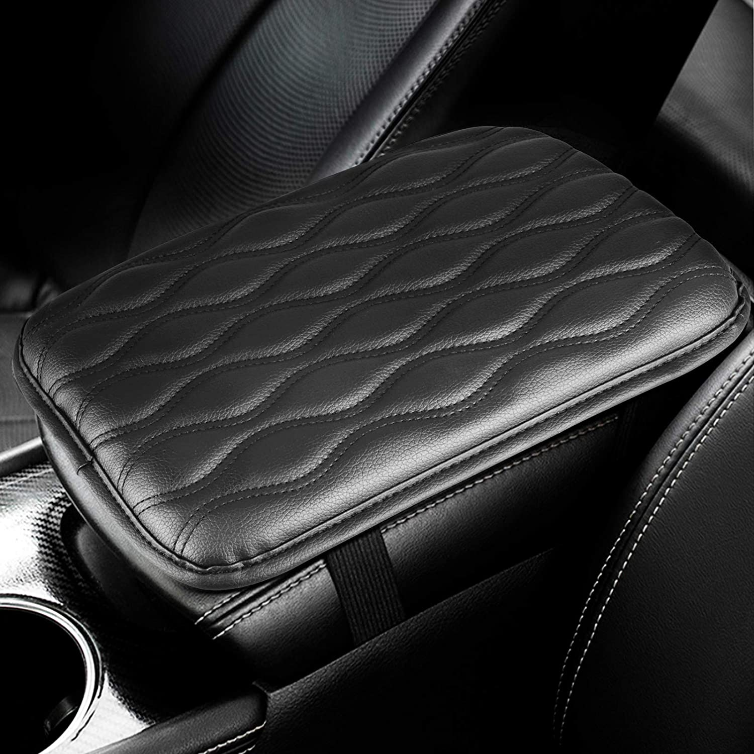 Black Anti-wear Leather Car Center Console Cover Cushion Armrests Pads Universal