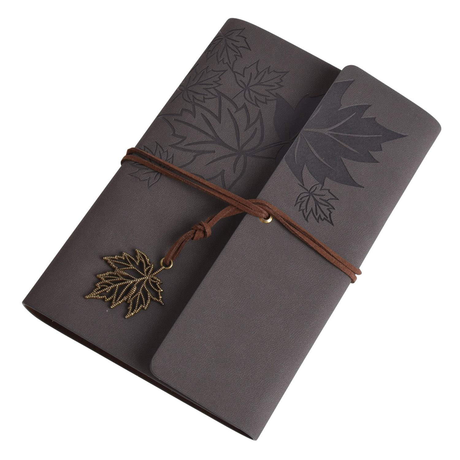 Autoark Leather Writing Journal Notebook, 5 x 7 Inches Classic Maple Leaf Vintage Spiral Bound Notebook Diary Sketchbook, Daily Use Gift For Girls/Boys /Bloggers/Teachers, Skyblue, AHK-044