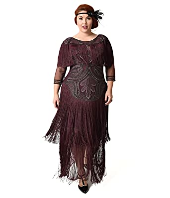 Unique Vintage 1920s Style Plus Size Plum Beaded Sleeved Glam