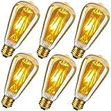 Edison Vintage LED Glühbirne, BriliantJo E27 4W Warmweiß Antike LED Filament Lampe Ersetzt 40W (2700K, Dimmbar, 330LM, ST64) Bernstein Glas für Nostalgie Retro Beleuchtung im Haus Bar 230V 6 Stück