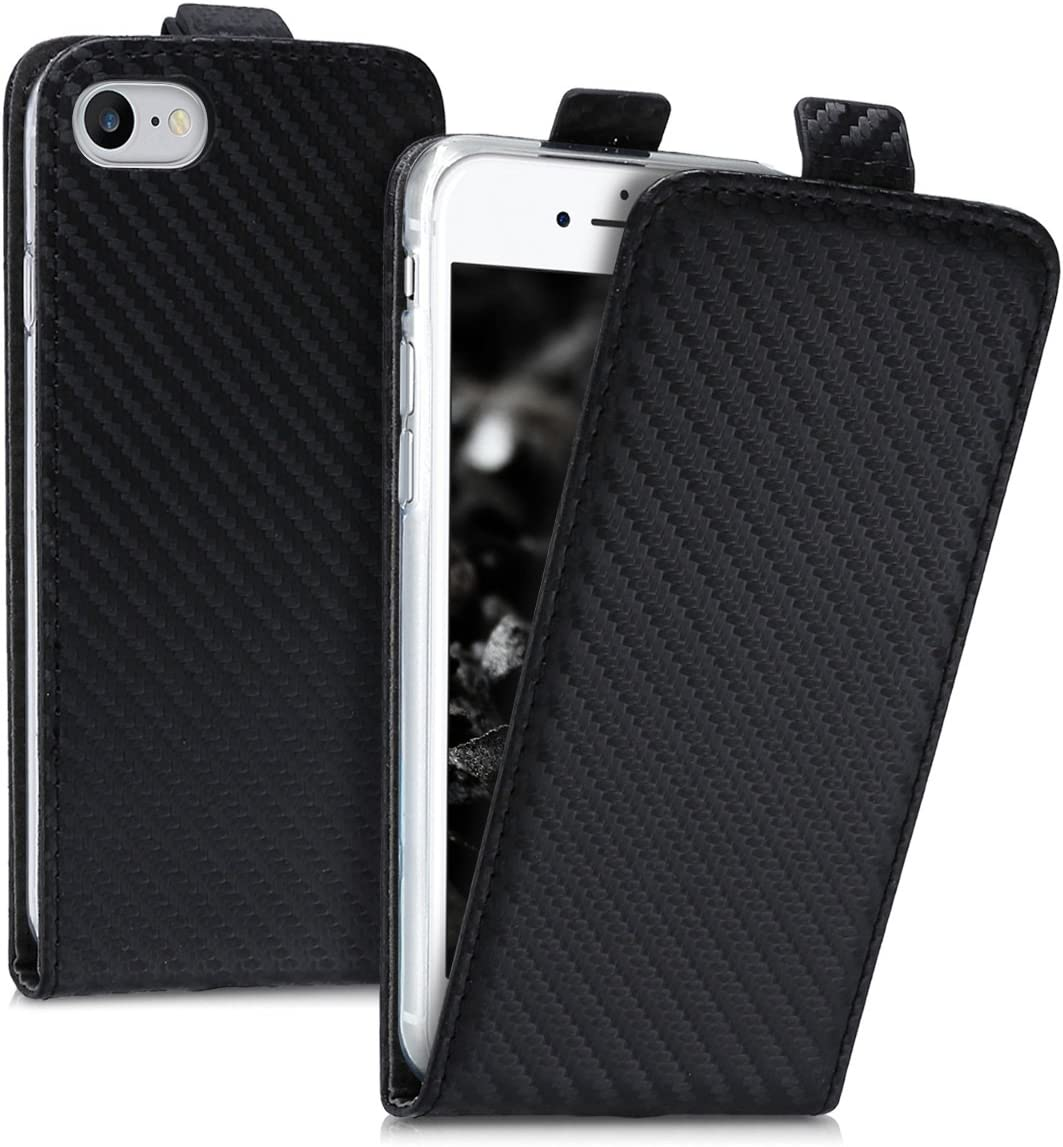 kwmobile Vertical Flip Case Compatible with Apple iPhone 7/8 / SE (2020) - PU Leather Protective Flip Cover with Magnet - Carbon Black