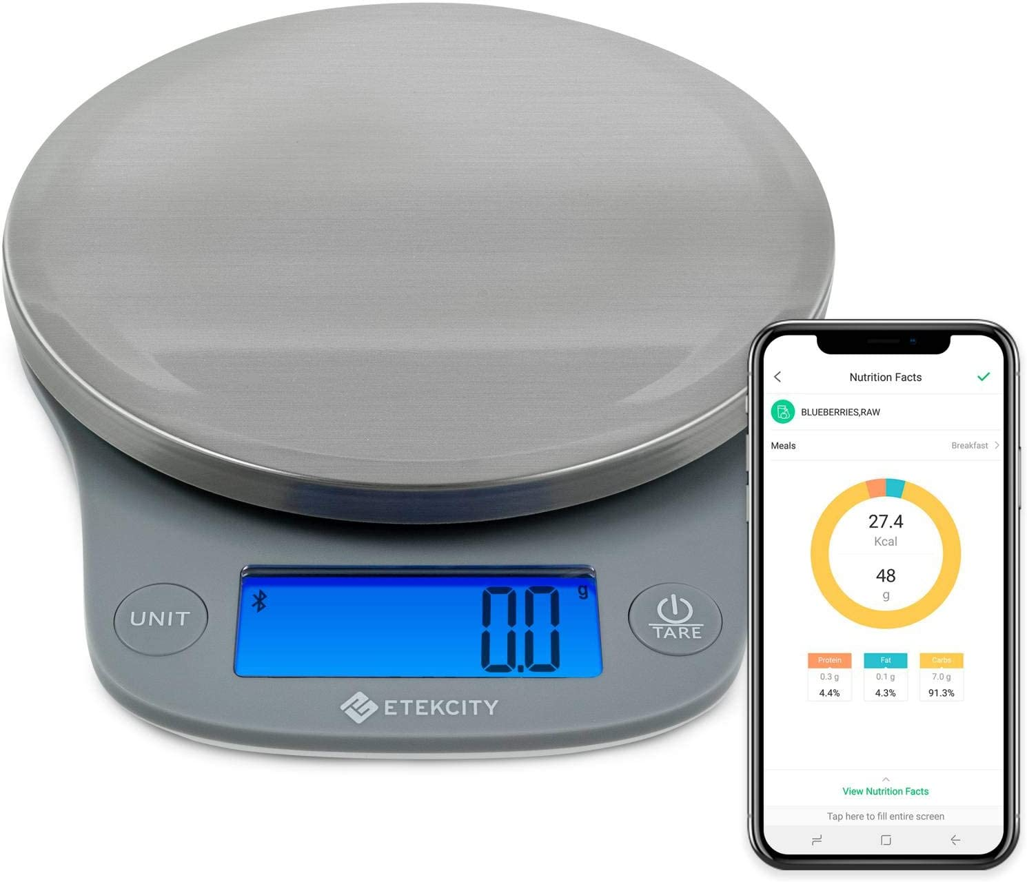 Etekcity 0.1g Smart Food Kitchen Scale, Gifts for Cooking, Baking, Meal Prep, Keto Diet and Weight Loss, Measuring in Grams and Ounces, Medium, 304 Stainless Steel