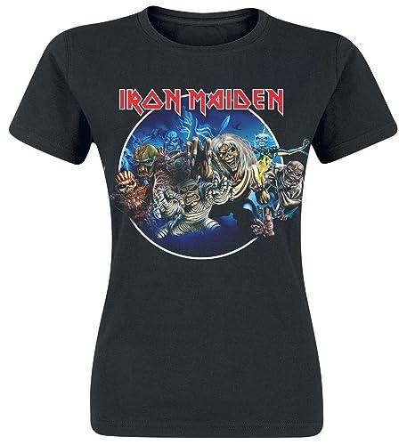 Iron Maiden Wasted Years Circle Camiseta Mujer Negro