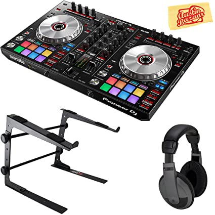 Pioneer DDJ-SR2 Portable 2-Channel Controller for Serato DJ Bundle with  Stand, Headphones, and Austin Bazaar Polishing Cloth