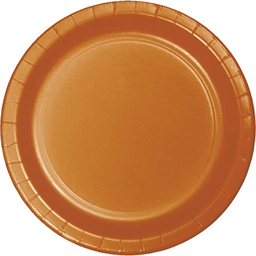 Pumpkin Spice Orange Oval Plates 24 ct