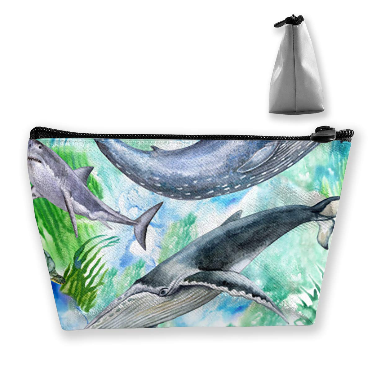 Make Up Bag Watercolor Sea Life Sea Creatures Whale Travel Makeup Bag Cosmetic Bag Lage Toiletry Bags for Women