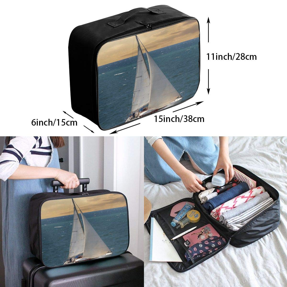 Travel Luggage Duffle Bag Lightweight Portable Handbag Sailboat Ocean Large Capacity Waterproof Foldable Storage Tote