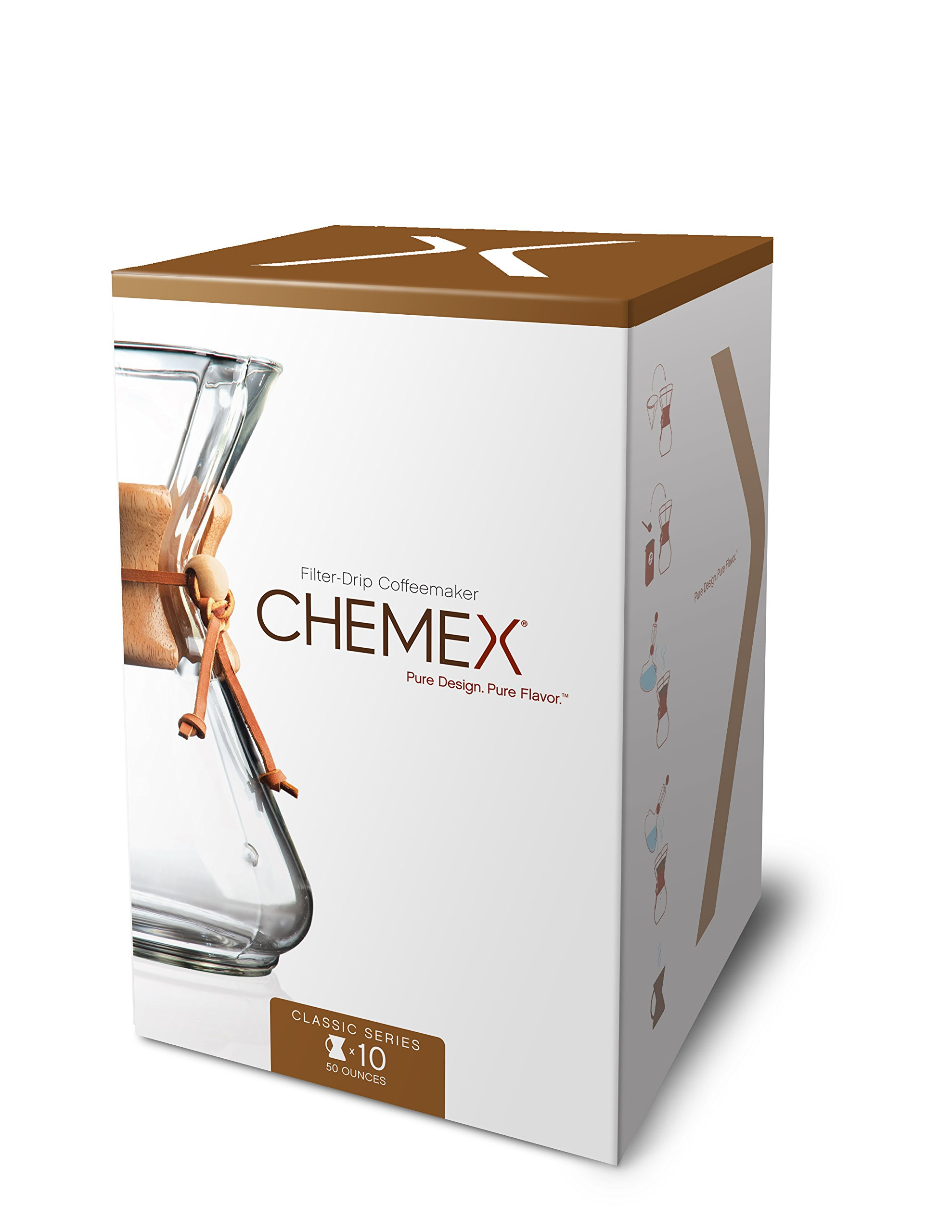 Chemex Classic Series, Pour-Over Glass Coffeemaker, 10 Cup - Exclusive Packaging by Chemex
