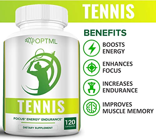 OPTML Tennis Performance Supplement, Increased Focus, Enhanced Energy, Reduced Stress, Improved Endurance, Boosts Muscle Memory, Play Better, Win More 120 Capsules