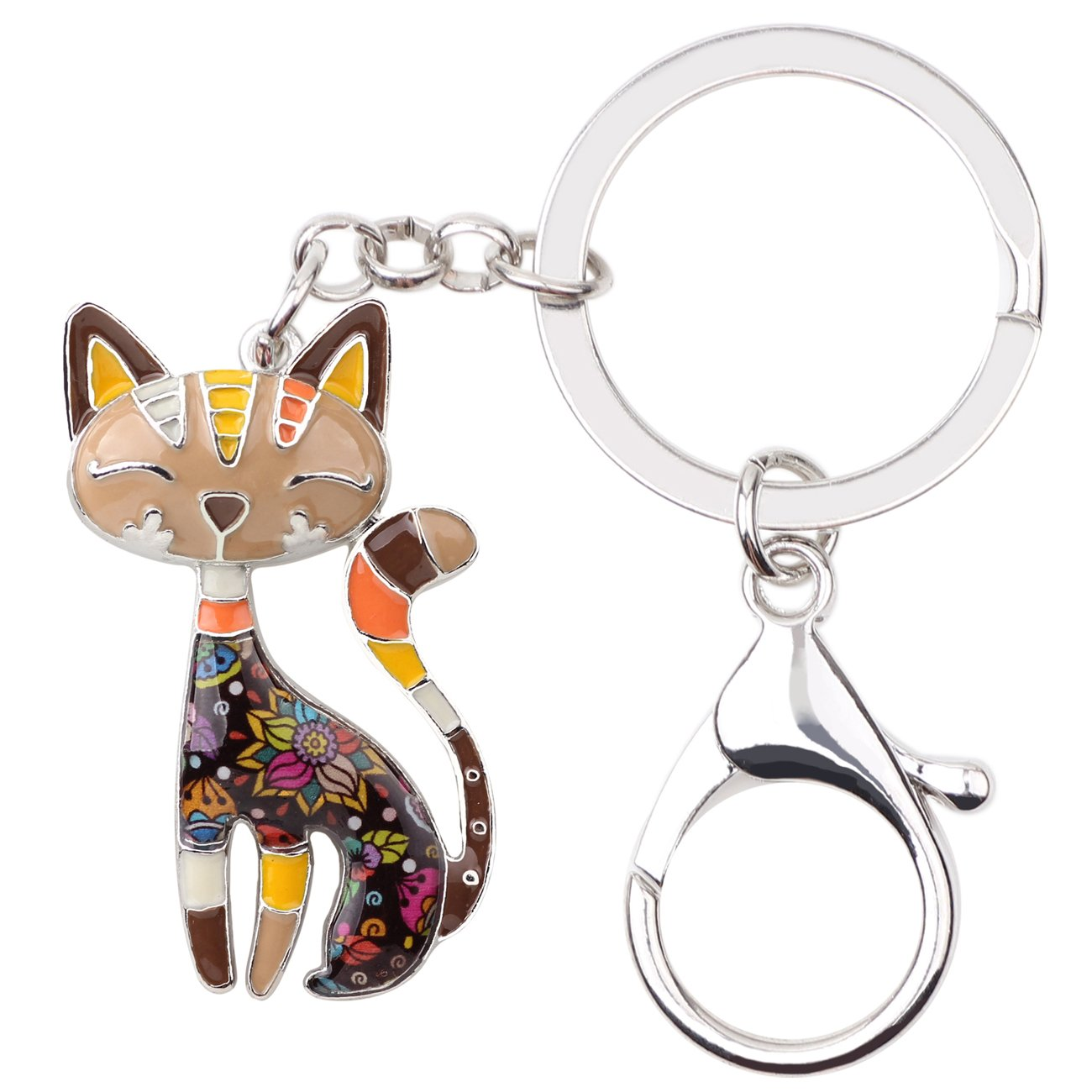 Bonsny Enamel Alloy Chain Cat Key Chains For Women Car Purse Handbag Charms (Brown)
