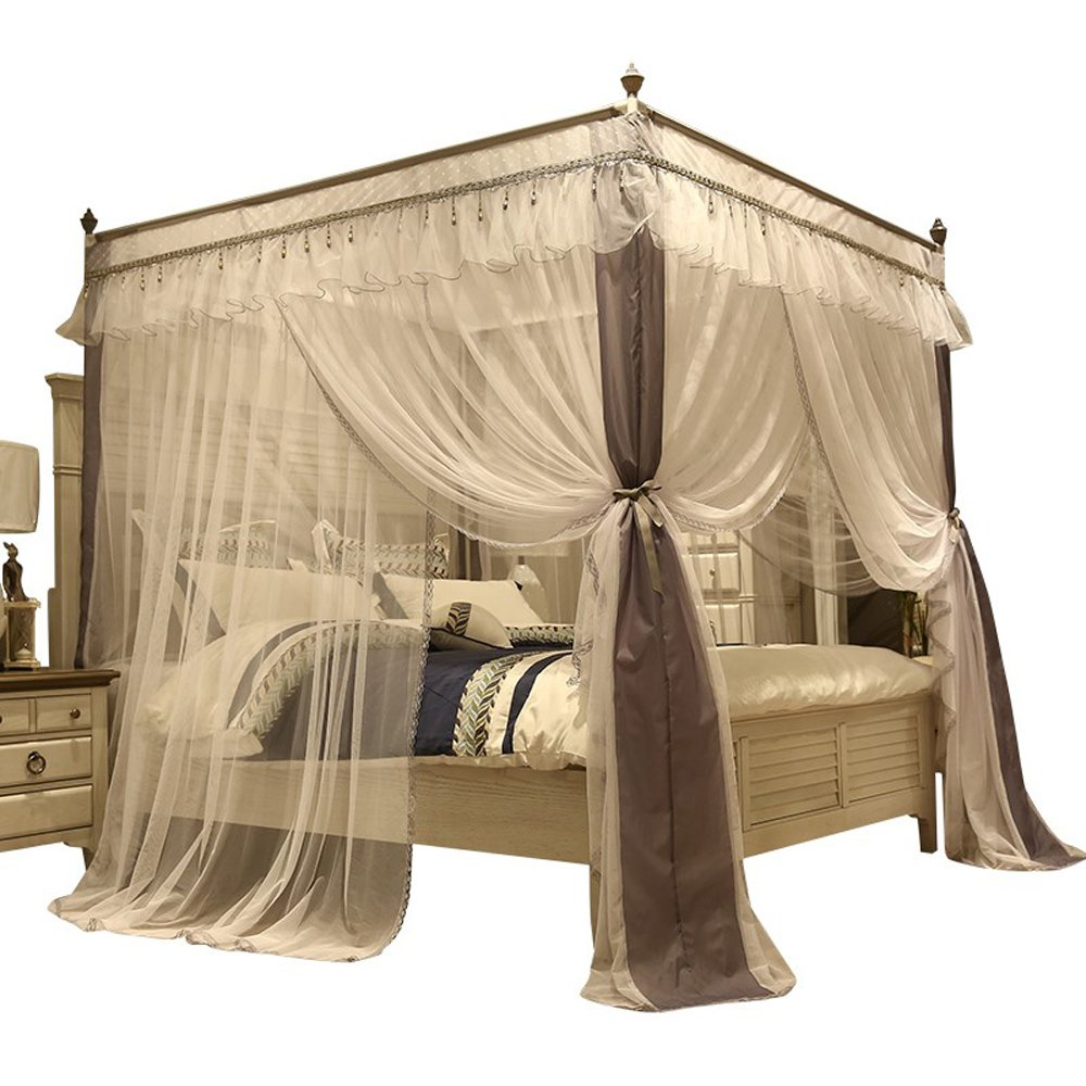 Amazon.com 4 Corner Canopy Bed Curtains For Girls Bed Canopies Mosquito Net Bed Frame Draperies Home u0026 Kitchen  sc 1 st  Amazon.com & Amazon.com: 4 Corner Canopy Bed Curtains For Girls Bed Canopies ...