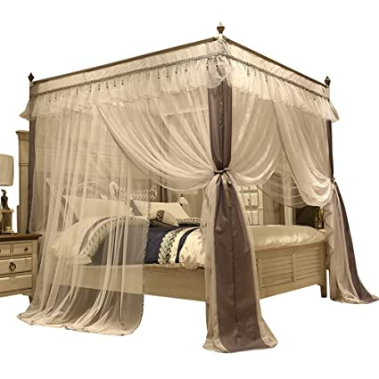 Amazon.com: 4 Corner Canopy Bed Curtains For Girls Bed Canopies ...