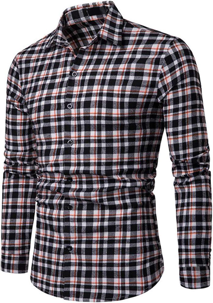 ღLILICATღ Hombre Camisa Manga Larga Slim Negocios Camisa de Botón/Camisa a Cuadros Rejilla de Diamante Camisa de Cuello Alto: Amazon.es: Deportes y aire libre