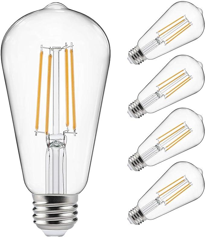 Amazon Com Vintage Led Edison Bulbs 60 Watt Equivalent Eye Protection Led Bulb With 95 Cri Non Dimmable Warm White 2700k St58 Antique Led Filament Bulbs E26 Medium Base Pack Of 4 Home Improvement